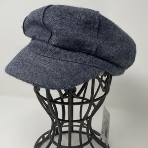 Nine West Bouclé Newsboy Cap Hat Wool Blend Gray